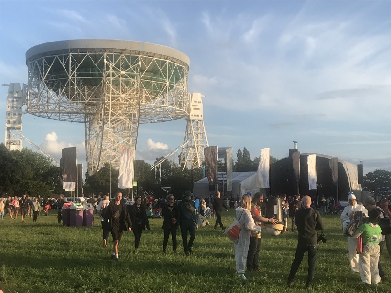 The Lovell Telescope and festival goers during Blue Dot Festival