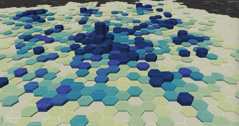 Map of Greater Manchester made up of different coloured hexagons