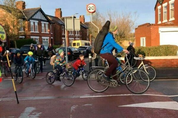 A 'school bike bus' in Chorlton
