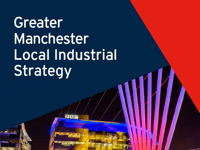 A graphic from the front cover of the Greater Manchester Local Industrial Strategy showing the BBC headquarters in Media City, Salford