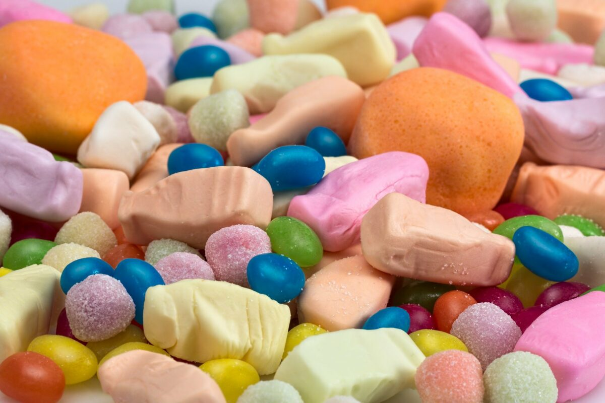 A mixture of sweets or candy