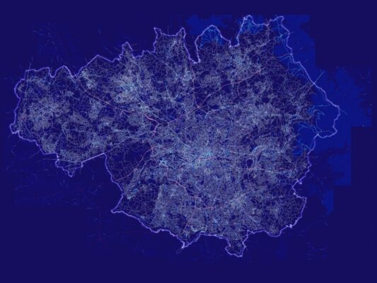A blue map of Greater Manchester
