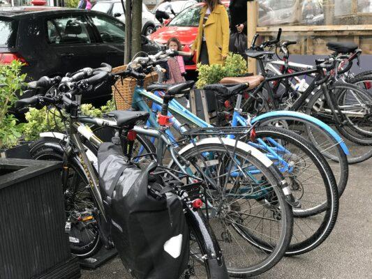 A rack on bikes on Beech Road in Chorlton