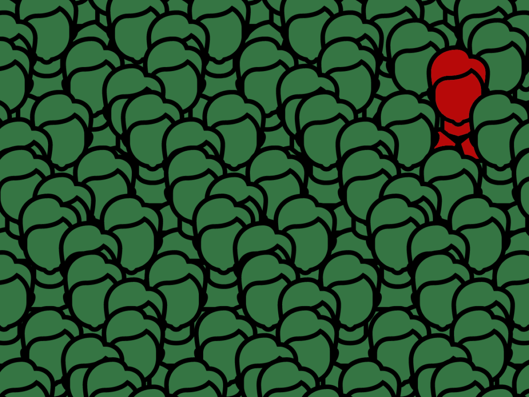 A crowd of cartoon graphics of a male individual all coloured green, with one picked out in red