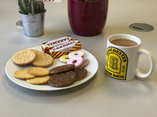 A plate of biscuits and a cup of tea on a desk, with a plant in the background