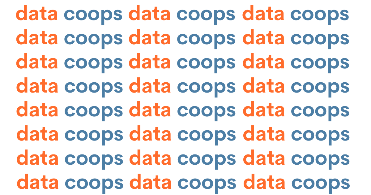 Text reading 'data coops' repeated in orange and blue